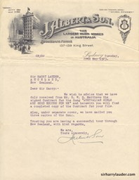 Letter Typewritten To Sir Harry Re Song Publishing Agreement 22 May l 1923