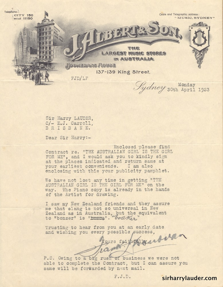 Letter Typewritten To Sir Harry Re Song Publishing Agreement 30 April 1923