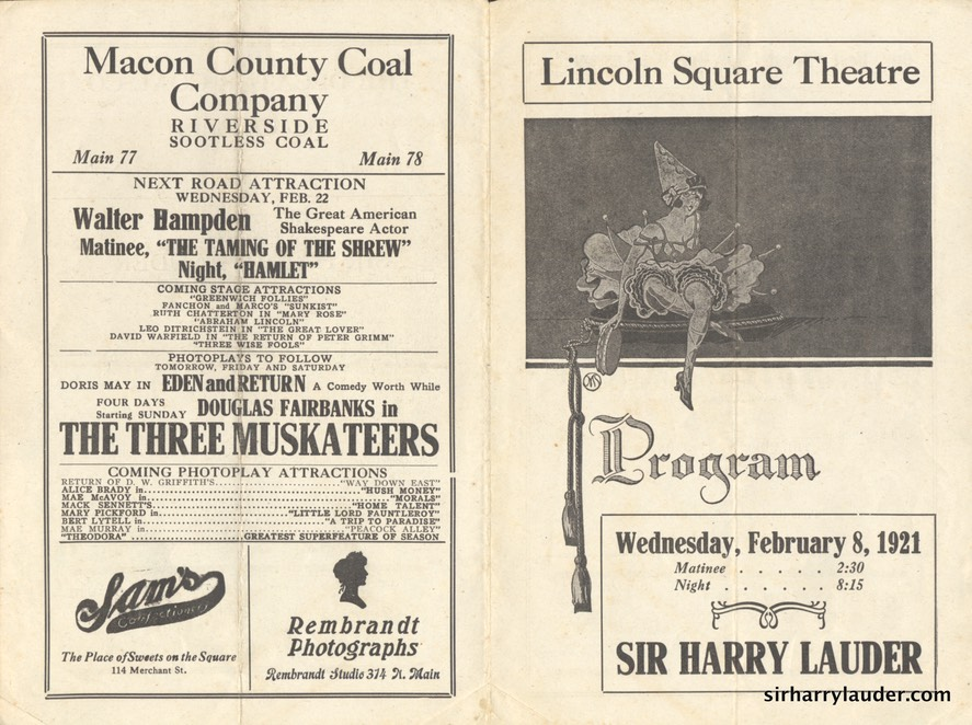 Lincoln Square Theatre Decatur Ill Program Bi-Fold Feb 8 1921