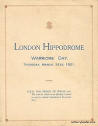 London Hippodrome Warriors' Day Programme Bi-Fold Mar 31 1921 -1