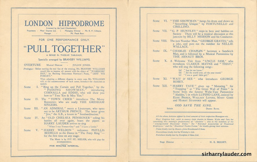 London Hippodrome Warriors' Day Programme Bi-Fold Mar 31 1921 -2