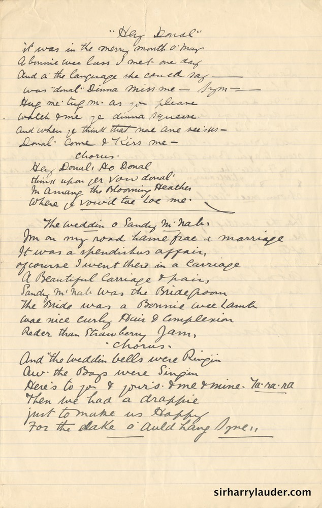 Lyrics Hey & Donal Weddin O Sandy McNab Handwritten By Sir Harry 1908?