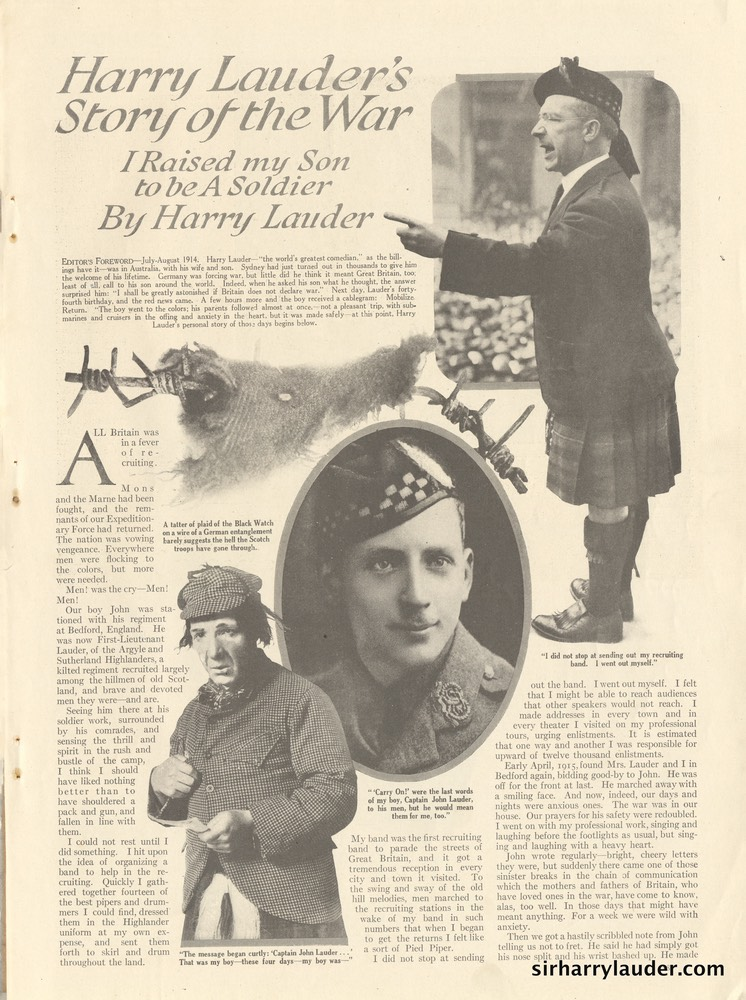 Magazine Article Hearsts Harry Lauders Story Of The War -1