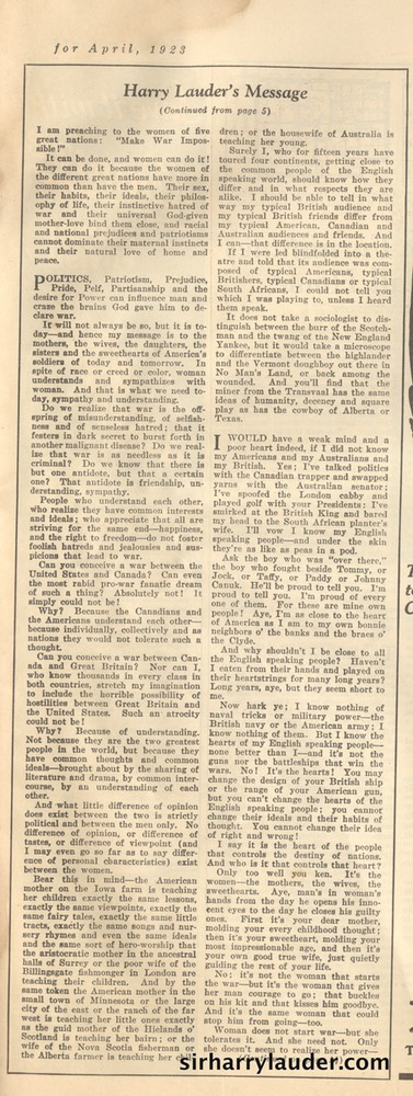 Magazine Womans World Article By Sir Harry April 1923 -2