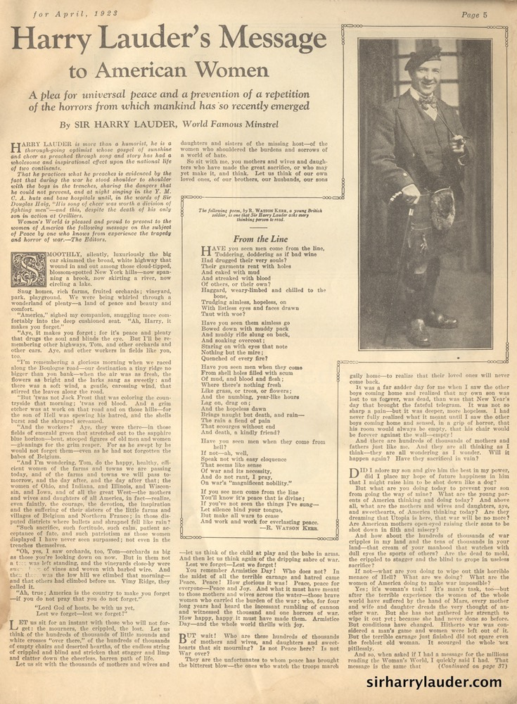 Magazine Womans World Article By Sir Harry April 1923 -1