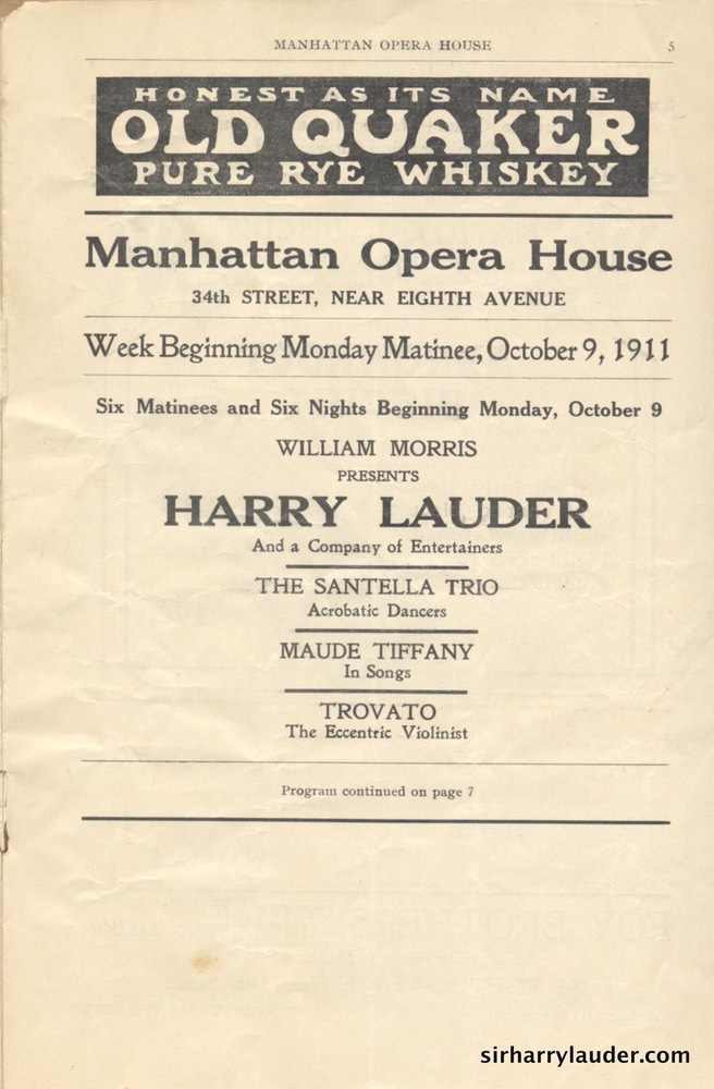 Manhattan Opera House New York Programme Booklet Oct 9 1911 -2