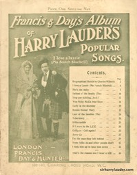 Music Booklet Francis & Days Album Of Harry Lauders Popular Songs Cover Light Green London Undated