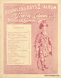 Music Booklet Francis & Days 2nd Album Of Harry Lauders Popular Songs Cover Red London -1