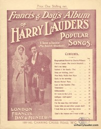Music Booklet Francis & Days Album Of Harry Lauders Popular Songs Cover Red London Undated
