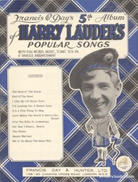Music Booklet Francis & Days 5th Album Of Harry Lauders Popular Songs New Style Cover