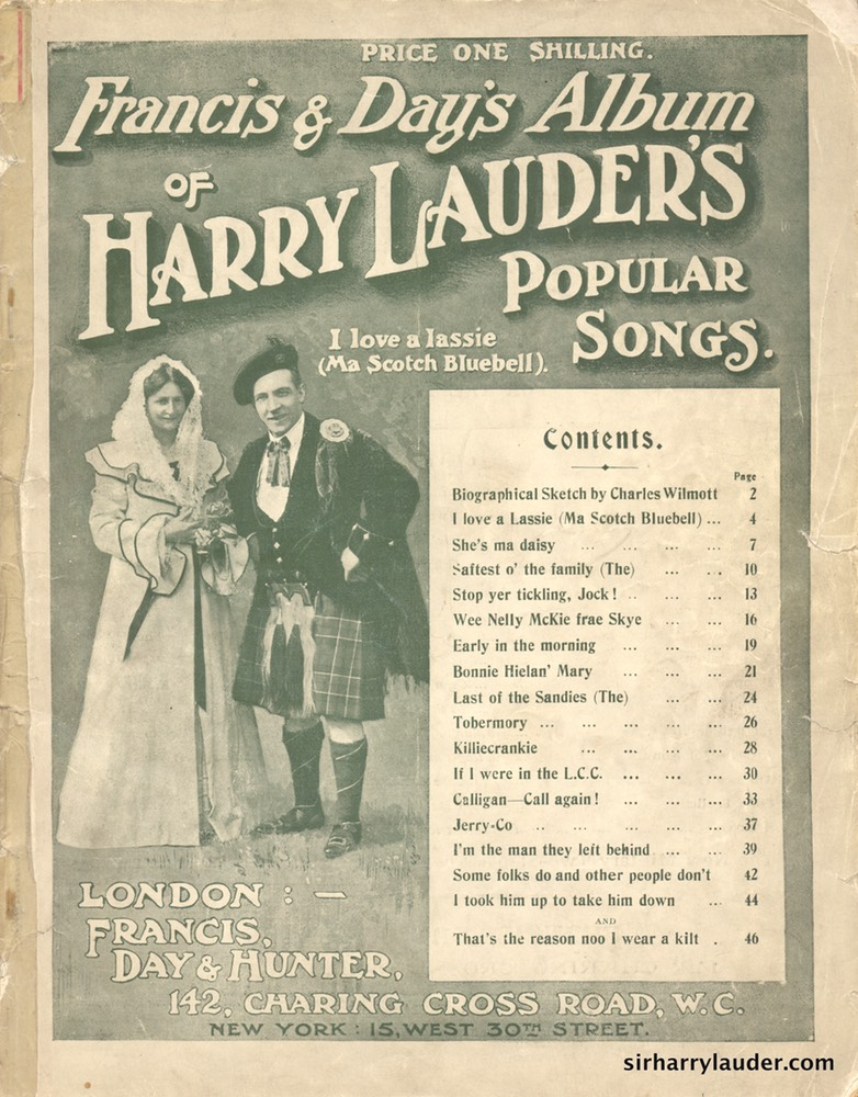 Music Booklet Francis & Days Album Of Harry Lauders Popular Songs Cover Green London -1