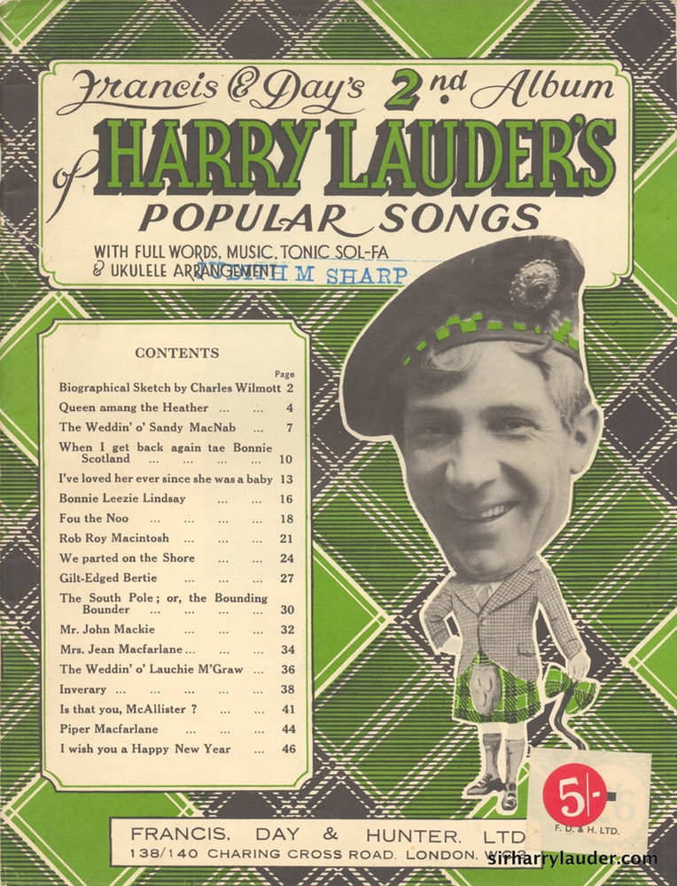 Music Booklet Francis & Days 2nd Album Of Harry Lauders Popular Songs New Style Cover