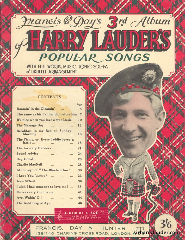 Music Booklet Francis & Days 3rd Album Of Harry Lauders Popular Songs New Style Cover