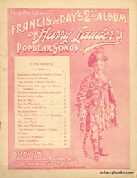 Music Booklet Inscribed In Pencil This Property Belongs To Sir Harry Lauder Francis & Days 2nd Album Harry Lauders Popular Songs London 1919 -1