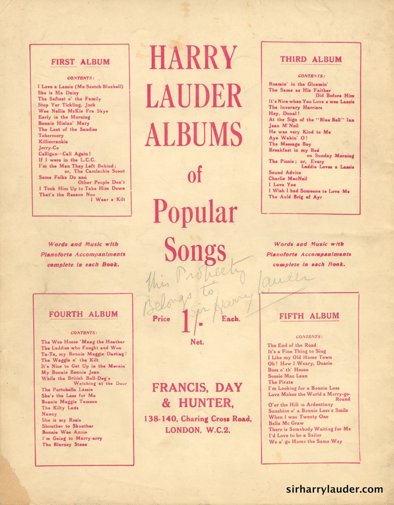 Music Booklet Inscribed In Pencil This Property Belongs To Sir Harry Lauder Francis & Days 2nd Album Harry Lauders Popular Songs London 1919 -2