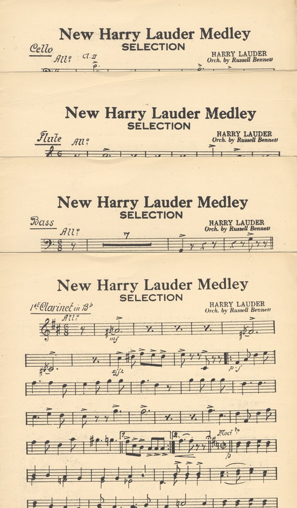 Music Sheet Orchestration Parts New Harry Lauder Medley by Russell Bennett Harms NY 1921 -2