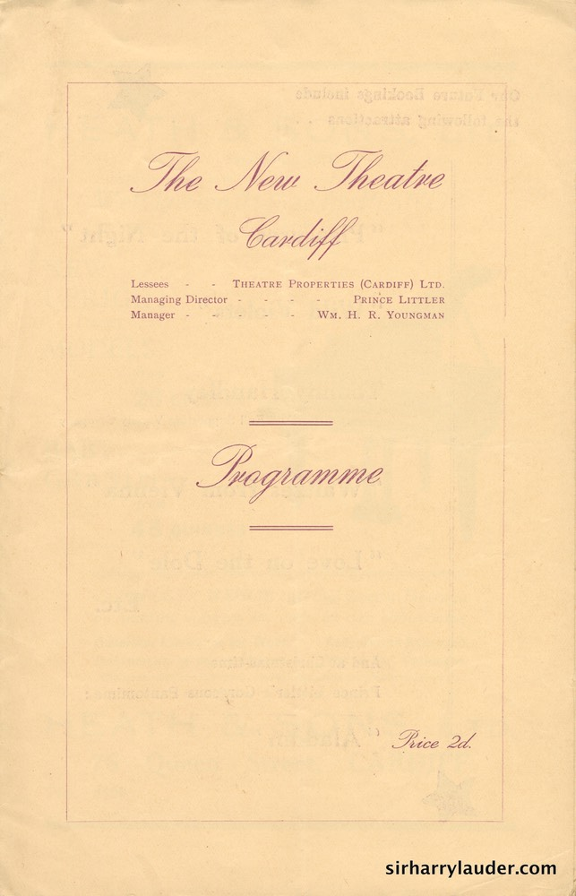 New Theatre Cardiff Wales Programme Booklet Dated Oct 21 1935 -1