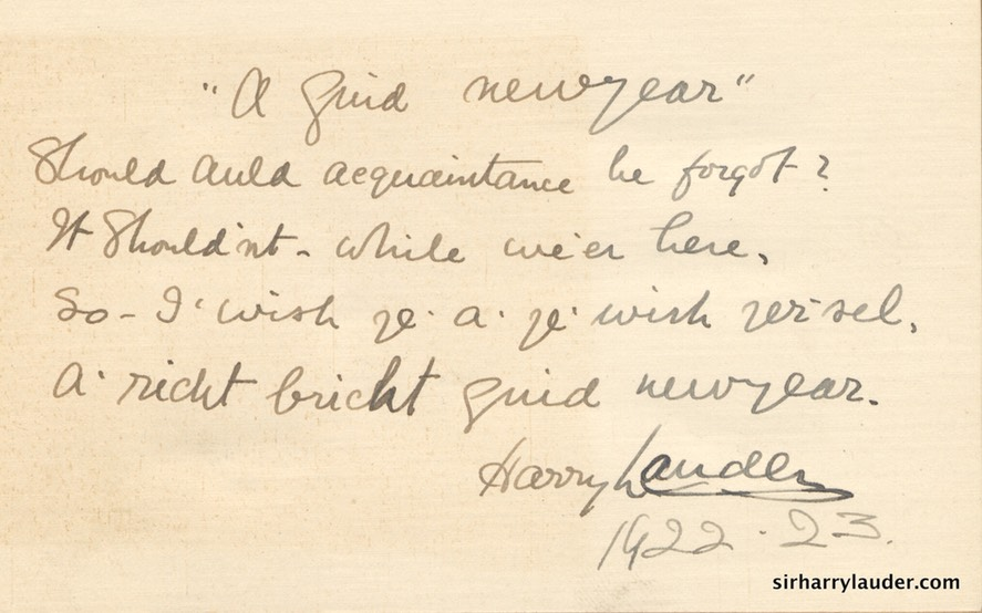 New Year Card Handwritten & Inscribed Signed Dated 1922 23