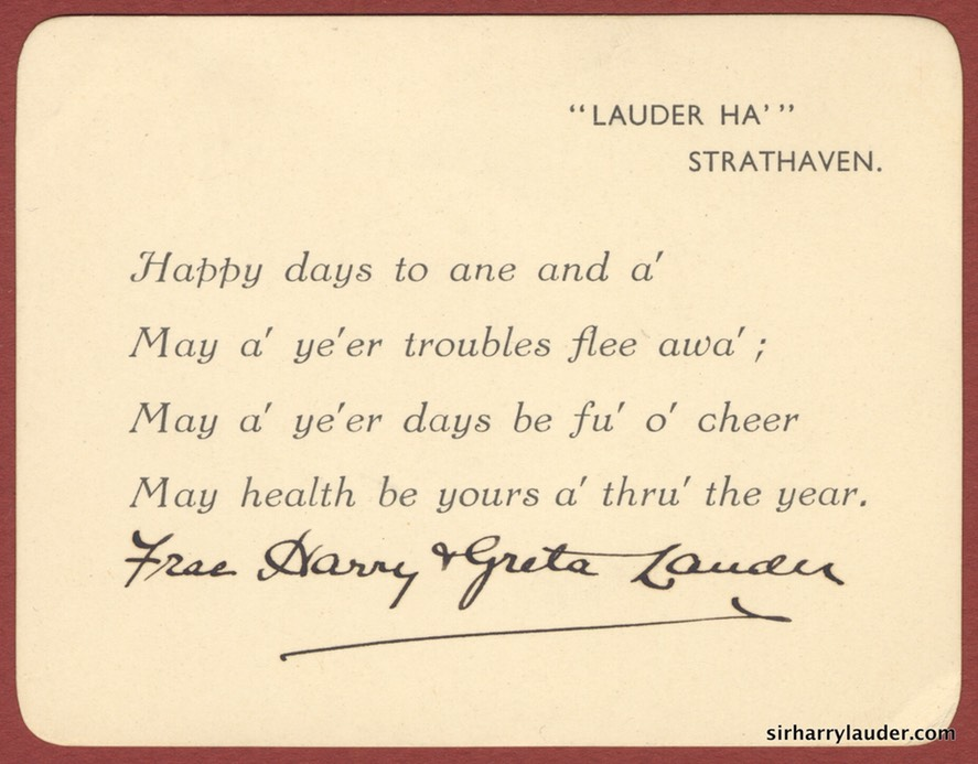 New Year Card Signed By Sir Harry Frae Harry & Greta Lauder Undated