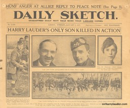 Newspaper Daily Sketch Death of John Lauder Jan 2 1917 -1