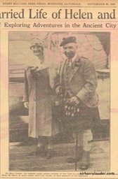 Newspaper Photo Winnpeg Sir Harry & Lady Lauder On Aquitania Nov 20 1926