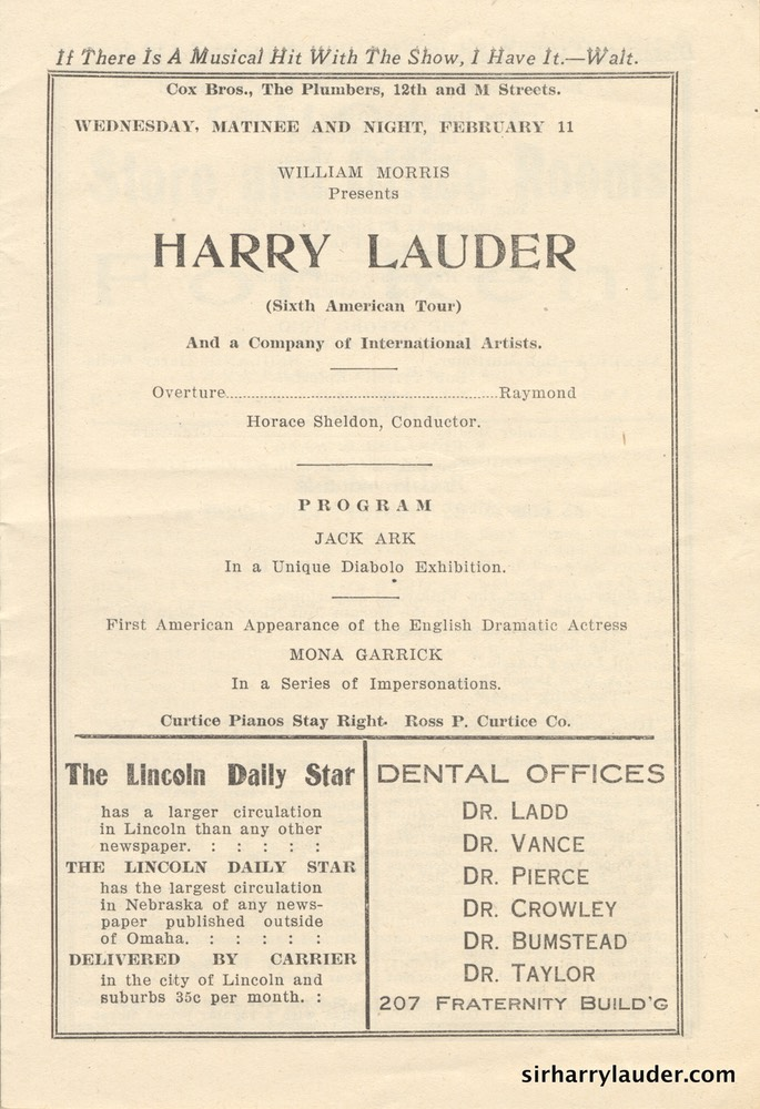 Oliver Theatre Lincoln Neb Programme Booklet Feb 9-14 1914 -2