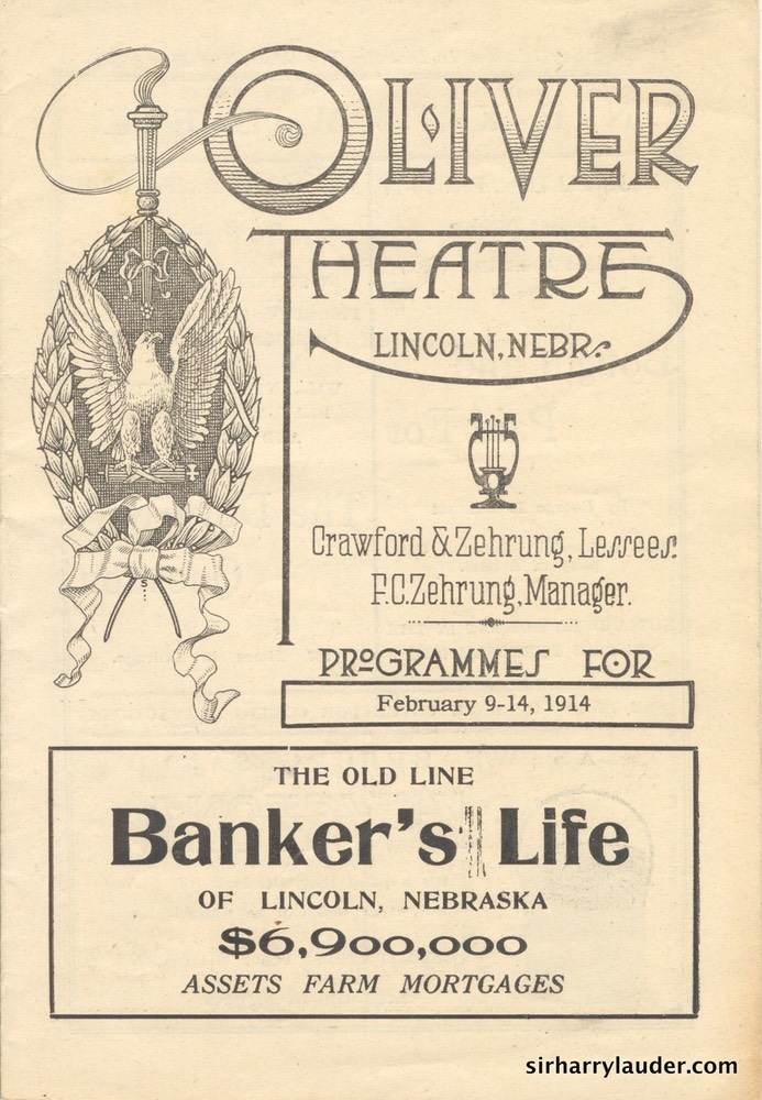 Oliver Theatre Lincoln Neb Programme Booklet Feb 9-14 1914 -1