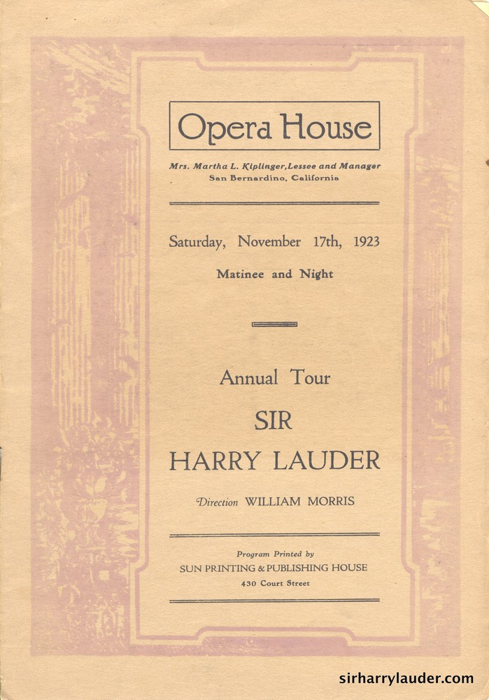 Opera House San Bernandino Calif Programme Booklet Dated Nov 17 1923 -1