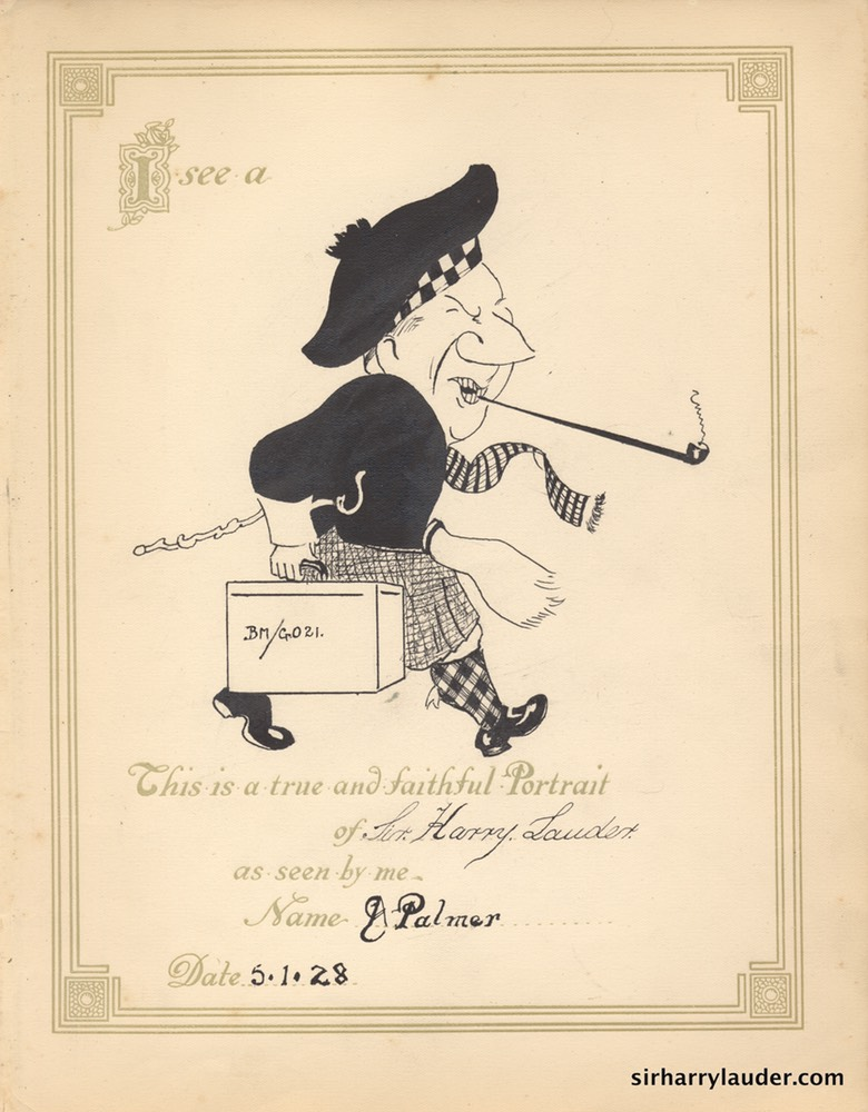 Original Pen & Ink Caricature of Sir Harry By A Palmer 1928