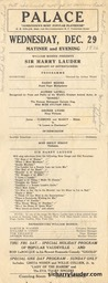 Palace Jamestown New York Programme Single Sheet Dec 29 1926