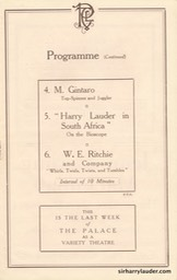 Palace Theatre London Programme Booklet Mar 26 1921** -4