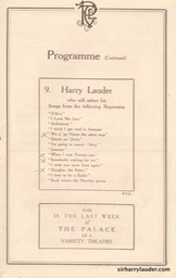 Palace Theatre London Programme Booklet Mar 26 1921** -5