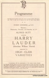 Palace Theatre London Programme Booklet Mar 26 1921** -2