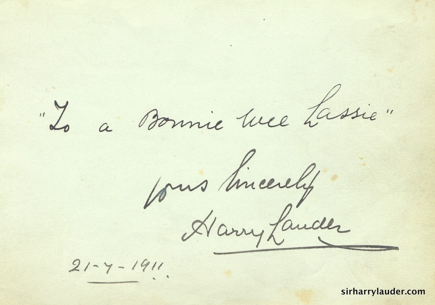 Paper Inscribed & Signed Yours Sincerely  To A Bonnie Wee Lassie Dated 21 7 1911