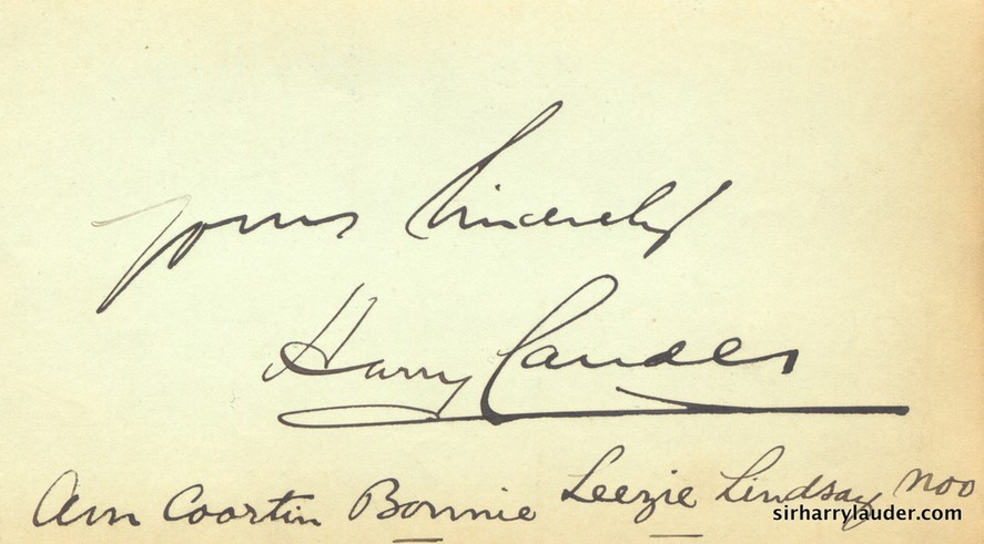 Paper Inscribed & Signed Yours Sincerely With Line From Bonnie Lezzie Lindsay Undated