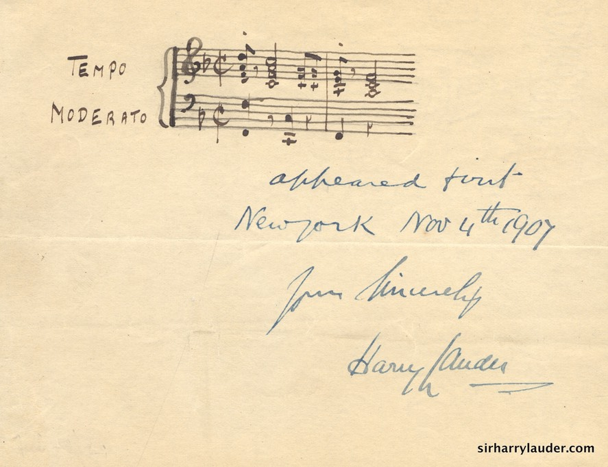 Paper Inscribed Appeared First New York Nov 4th 1907 & Signed Yours Sincerely Musical Stanza Top Roamin'? In Different Ink