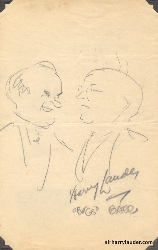 Pencil Caricature Of Sir Harry & Bugs Baer Signed By Both On Hotel Astor Stationary Verso