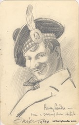 Pencil Drawing Harry Lauder From A Dressing Room Sketch1941?