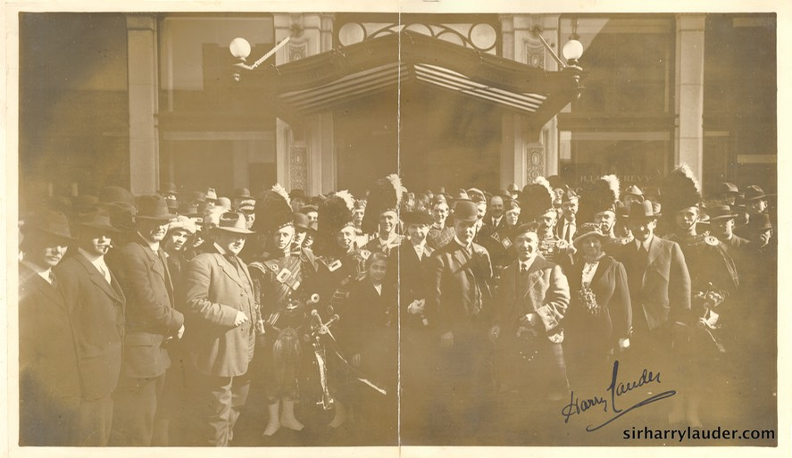 Photo Album Sir Harry & Lady Lauder With Others Photo Signed By Sir Harry Undated
