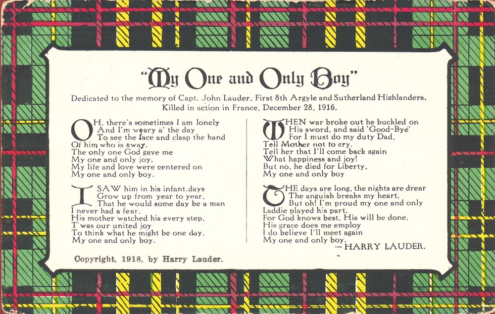 Post Card My One And Only Boy Harry Lauder  - 1918