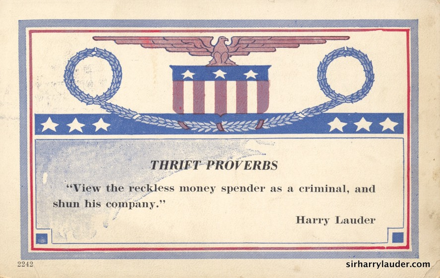 Postcard Thrift Proverbs Harry Lauder Postmarked 1920