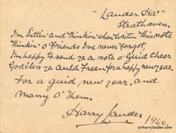 Printer & Inscribed New Years Card 1946