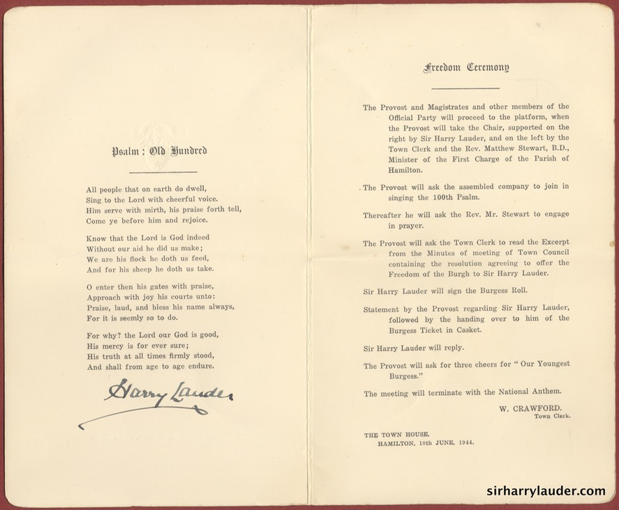 Programme For Freedom Cermony Of The Burgh Of Hamilton Signed Inside 10 June 1944 -2