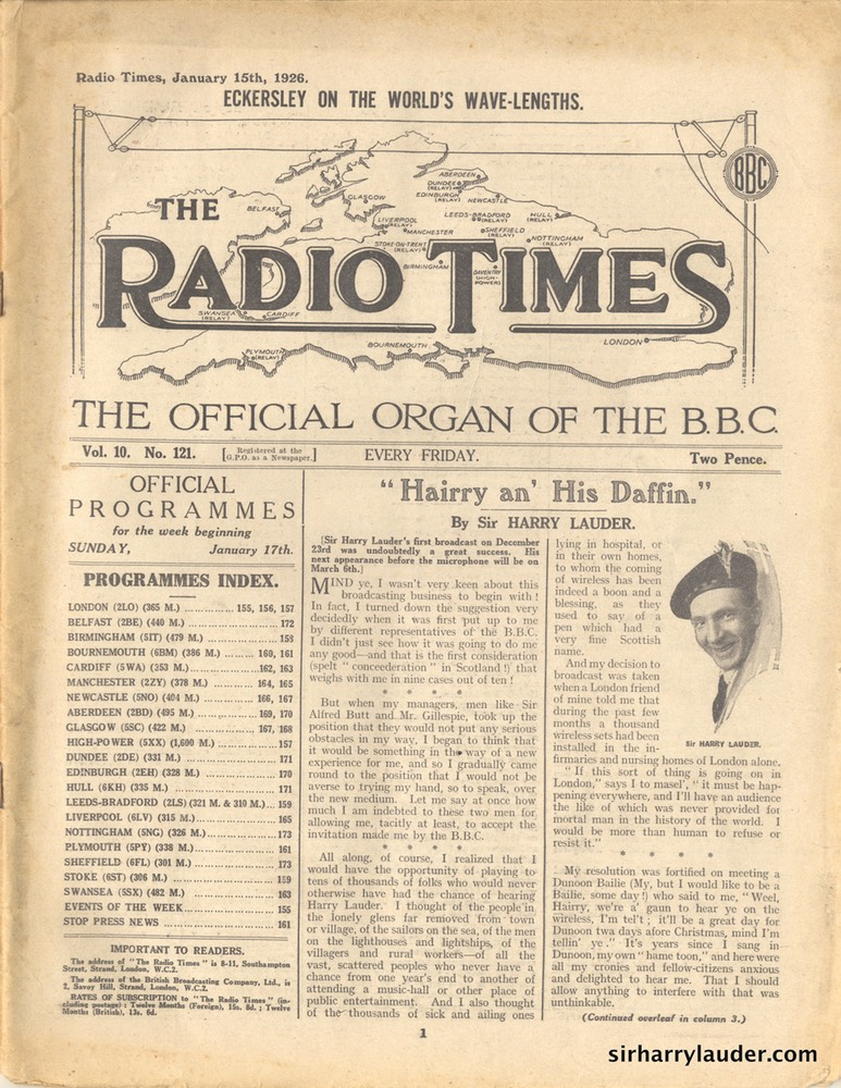 Radio Times Article By Sir Harry Lauder Jan 15 1926 -1