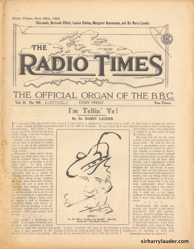 Radio Times Article By Sir Harry Dated Jun 25 1926 -1