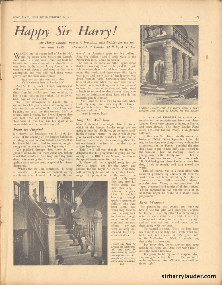 Radio Times Happy Sir Harry Feb 9 1940 -1