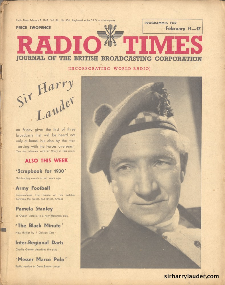 Radio Times Happy Sir Harry Feb 9 1940 -Cover