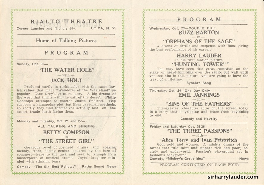 Rialto Theatre Utica NY Bi-fold Huntingtower Oct 1926? Inside