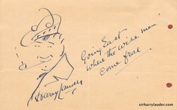 Self Drawn Caricature Ink Going East 1933