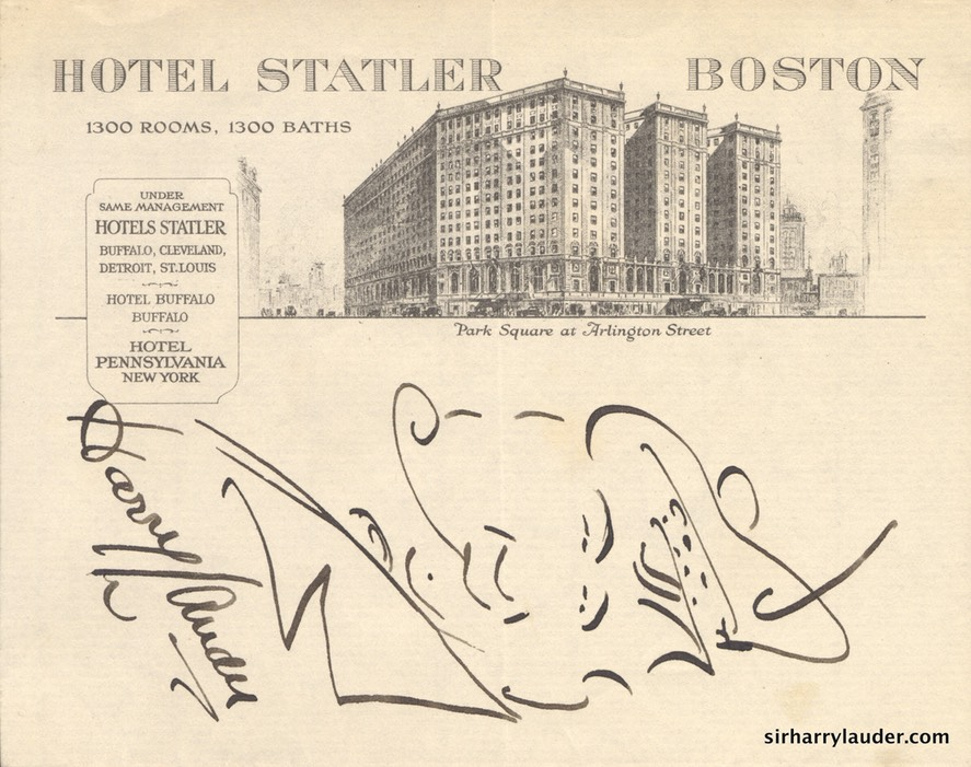 Self Drawn Caricature Ink On Hotel Statler Letterhead Undated